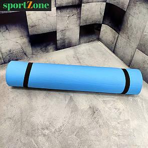 Йогамат, коврик для фитнеса, 36548, размер 180х60х0,6 см, голубой