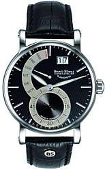 Чоловічі наручні годинники кварцові круглі шкіряний ремінець водостійкі 100 WR гарантія 24 місяці Bruno Sohnle