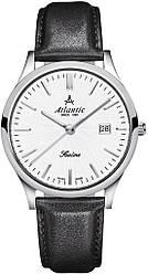 Чоловічі наручні годинники кварцові круглі шкіряний ремінець гарантія 24 місяці ATLANTIC