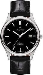 Чоловічі наручні кварцові годинники круглі шкіряний ремінець гарантія 24 місяці ATLANTIC