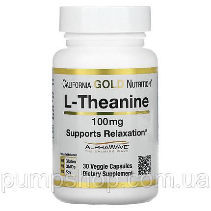 Аминокислота Л-Теанин California Gold Nutrition L-Theanine AlphaWave 100 мг 30 капс., фото 2