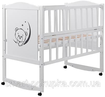 Ліжко Babyroom Тедді T-01 фігурне бильце, відкидний бік, колеса білий