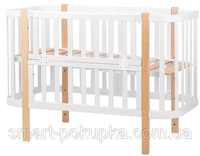 Ліжко Babyroom Місяць (120x60) білий - світлий (натуральний)