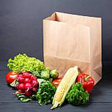 Паперовий пакет 320*150*380 мм з плоским дном для продуктів крафт бурий, фото 3