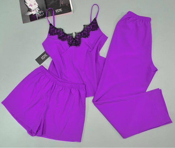 Женская пижама тройка  Este. Комплект майка штаны шорты 215 лавандовый.
