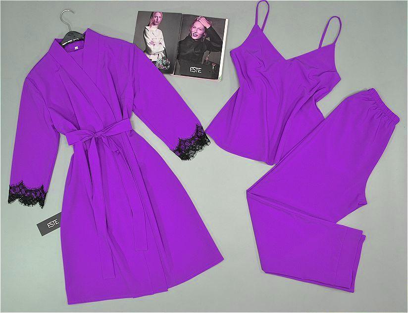 Домашняя одежда женская. Комплект халат и пижама ( майка+штаны).