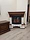 Угловой камин Fireplace Ференц Белый + Орех с эффектом живого пламени со звуком и обогревом, фото 2