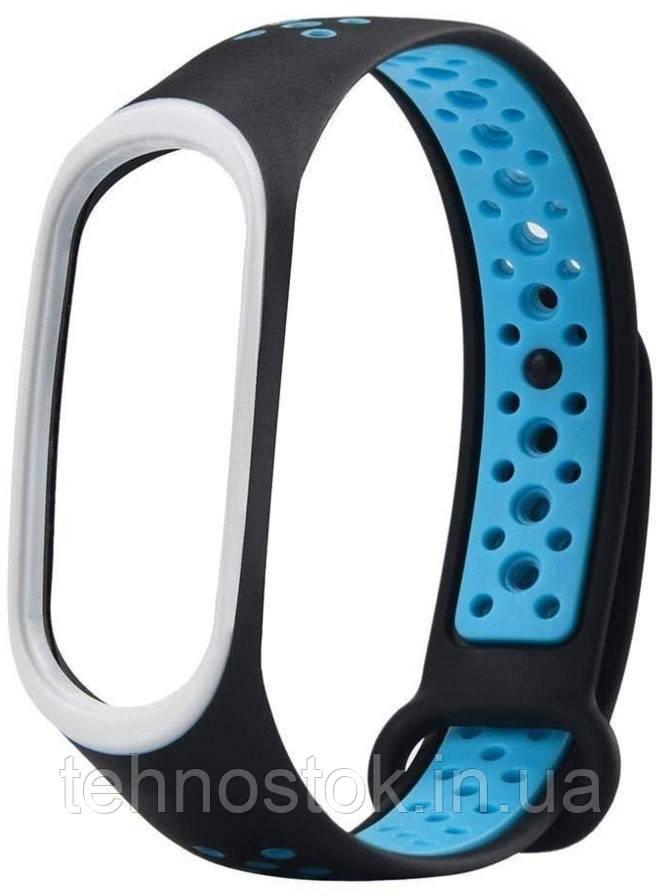 ОРИГИНАЛЬНЫЙ силиконовый ремешок для Xiaomi Mi Band 3/4 Black-Blue Nike