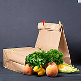 Крафт пакет з широким дном 260*150*350 мм для їжі з собою, фото 3