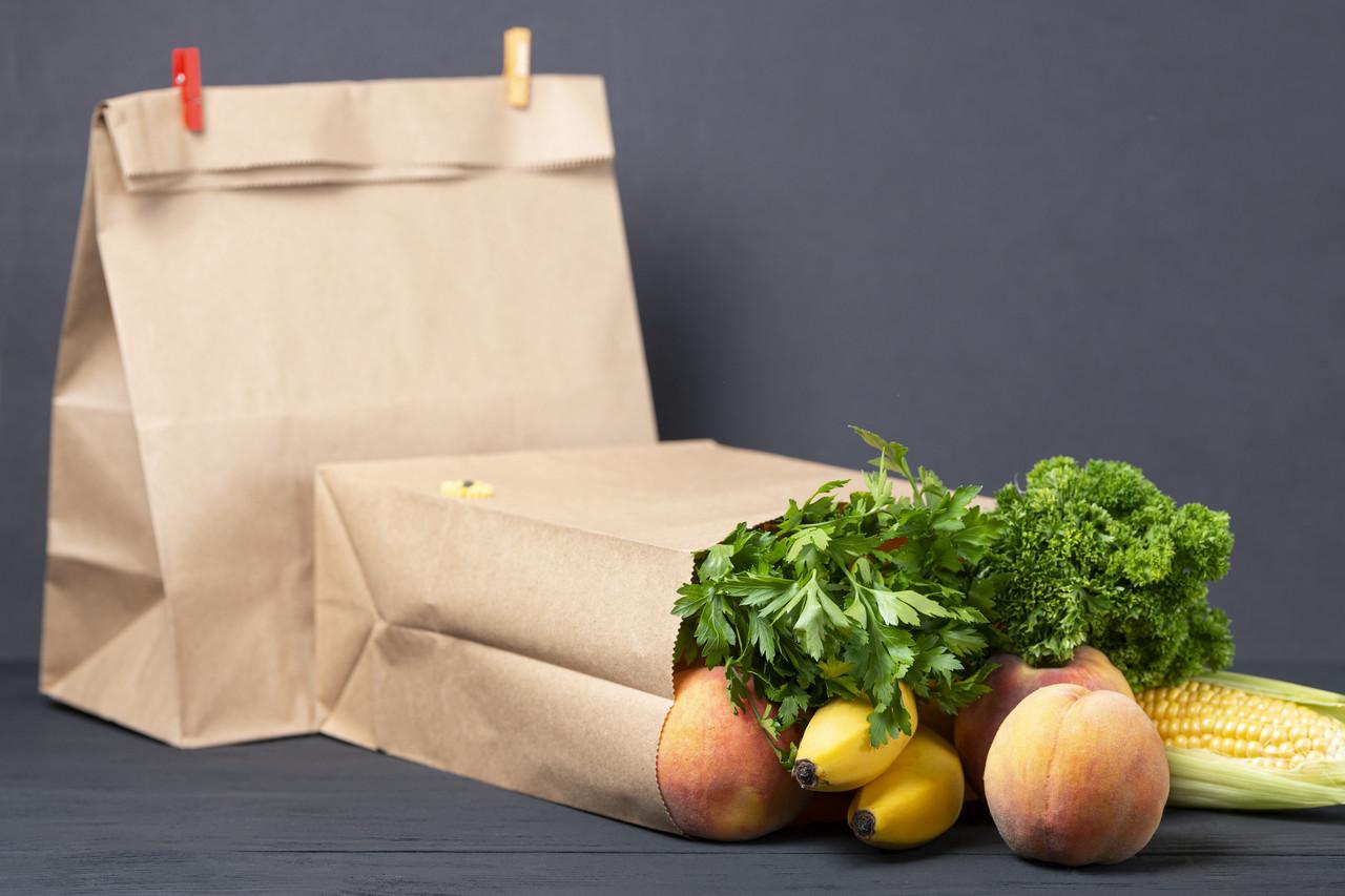 Крафт пакет с широким дном 260*150*350 мм для еды на вынос