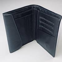 Мужской кожаный кошелек/Бумажник из кожи черный/Портмоне мужское в черном цвете