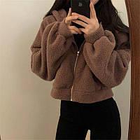 Стильный теплый мягкий женский худи Тедди коричневый белый 42-46 оверсайз