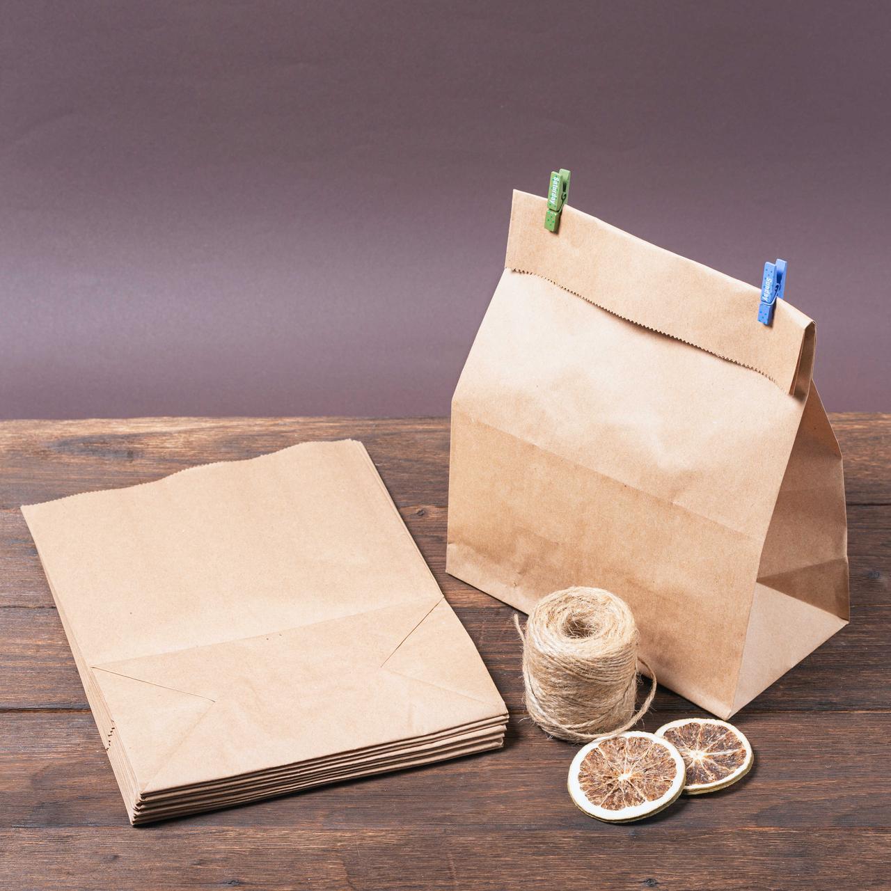 Бумажный пакет с плоским широким дном 220*120*280 бурый