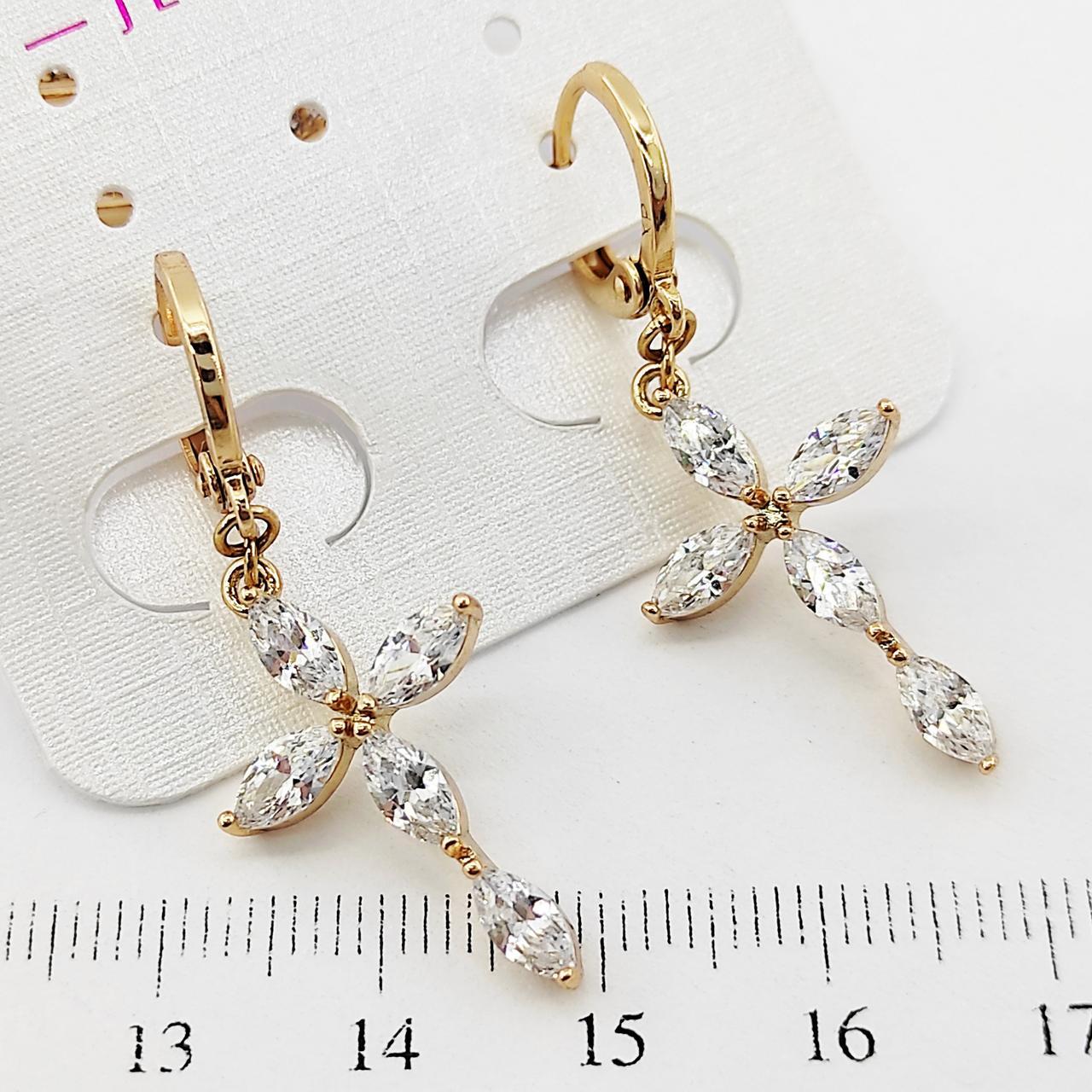 Серьги крестики Xuping длина 4см белый цирконий медицинское золото позолота 18К с1046