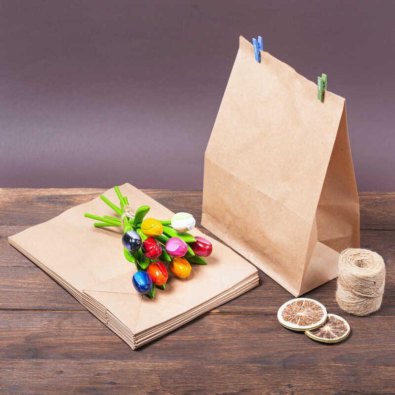 Паперовий крафт пакет з широким дном 220*120*290 мм, упаковка 500 шт