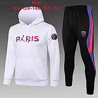 Детский спортивный костюм худи ПСЖ белый с капюшоном 2021-2022