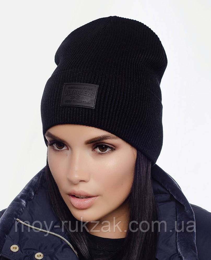 "Шапка вязана жіноча ""Феномен_Ж"" чорний 907088 - 17"