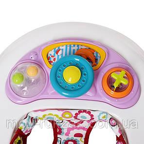 Дитяча каталка-ходунки, інтерактивні, музичні, з ігровою панеллю, El Camino, ME 1049 HAPPY Pink, фото 2