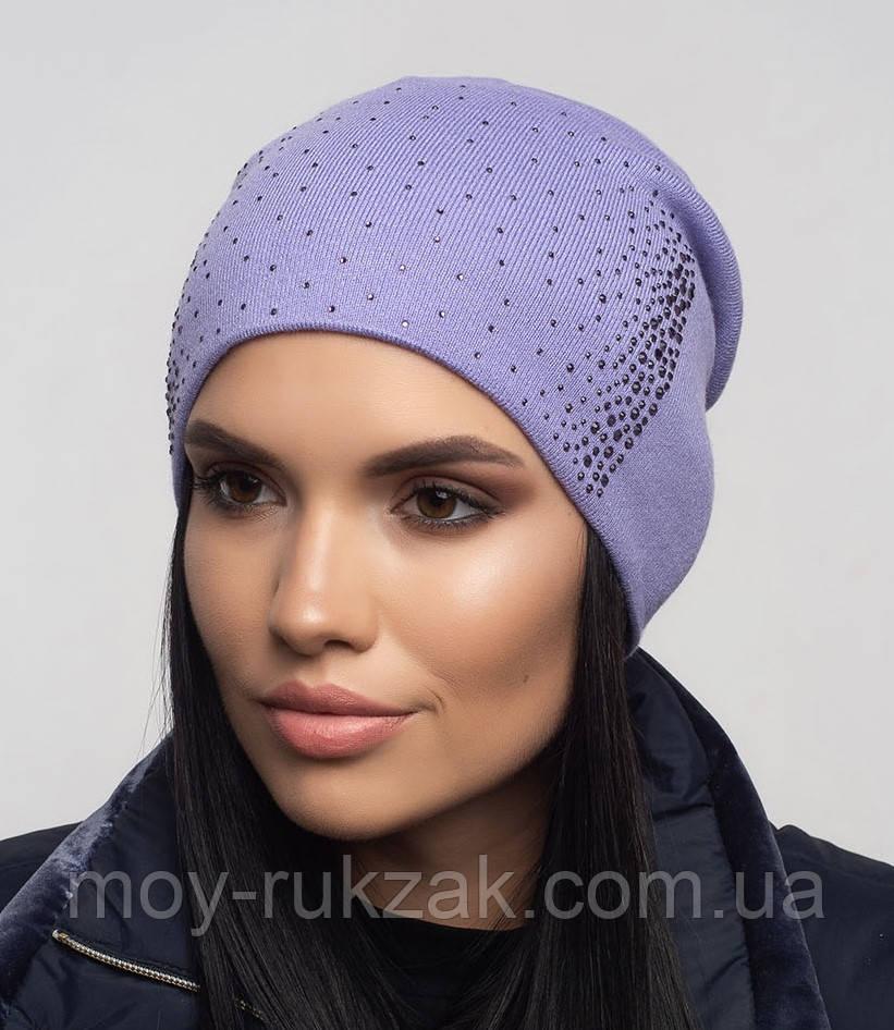 """Шапка вязаная женская """"Ладья"""" светло - фиолетовый 907097 - 8"""