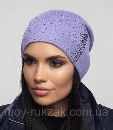 """Шапка вязаная женская """"Ладья"""" светло - фиолетовый 907097 - 8, фото 2"""
