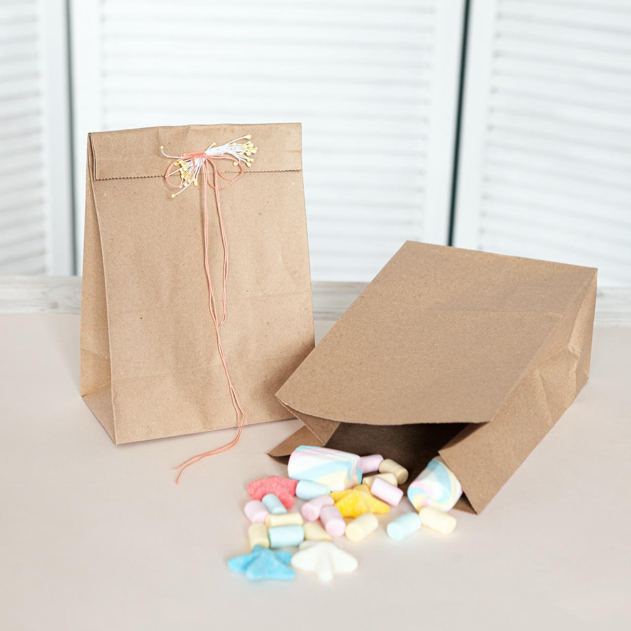 Бумажный пакет с плоским дном 150*90*240 мм крафт бурый упаковочный пакет без ручек