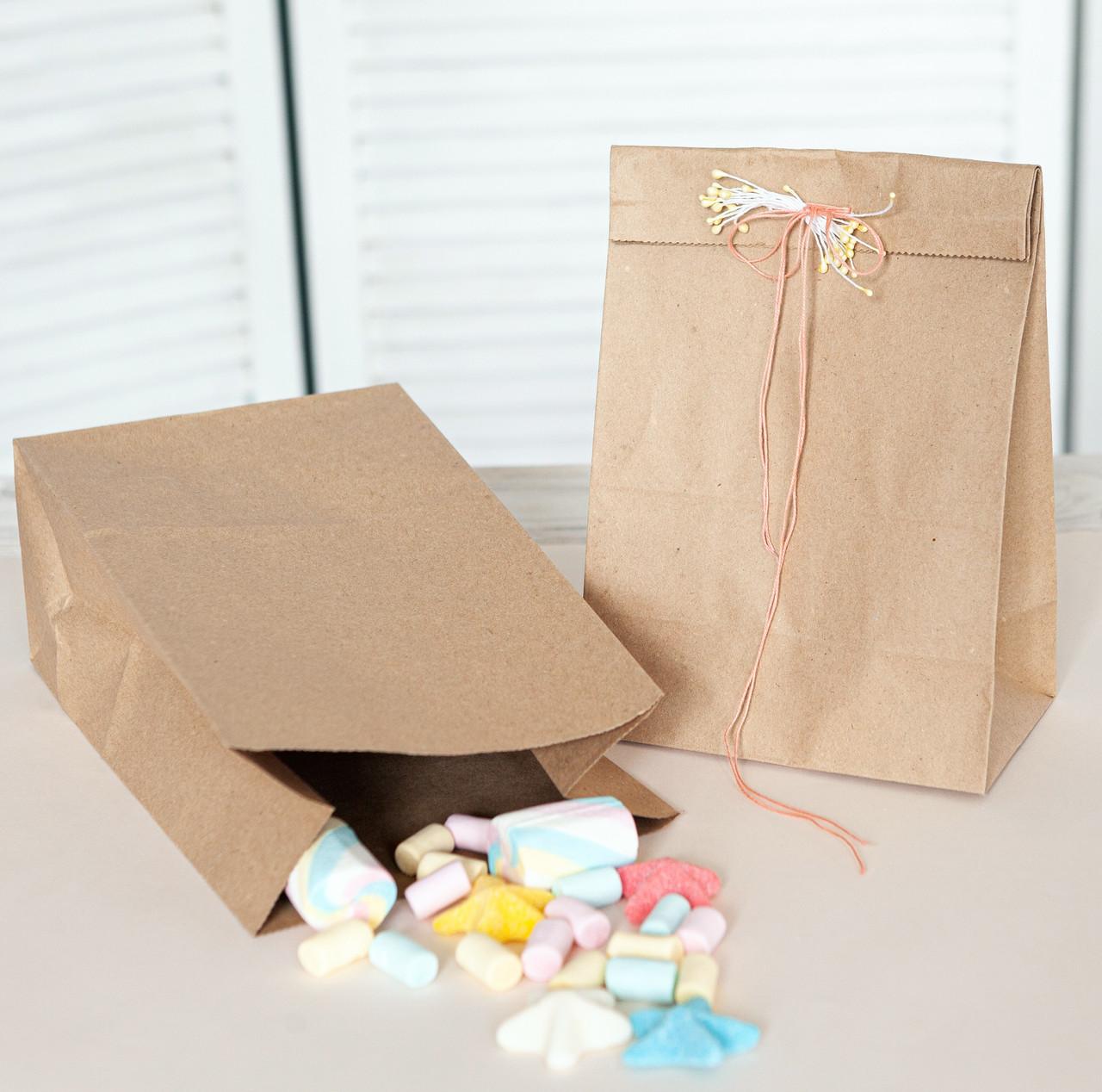 Бумажный пакет с плоским дном 150*90*240 мм крафт пакет, упаковка 500 штук