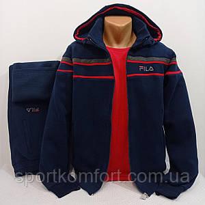 Тёплый прогулочный костюм Турция синий тринитка брюки прямые съёмный капюшон 70 хлопок тёмно-синий