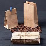 Пакет с дном бумажный 95*65*190 мм бурый фасовочный крафт пакет, фото 2