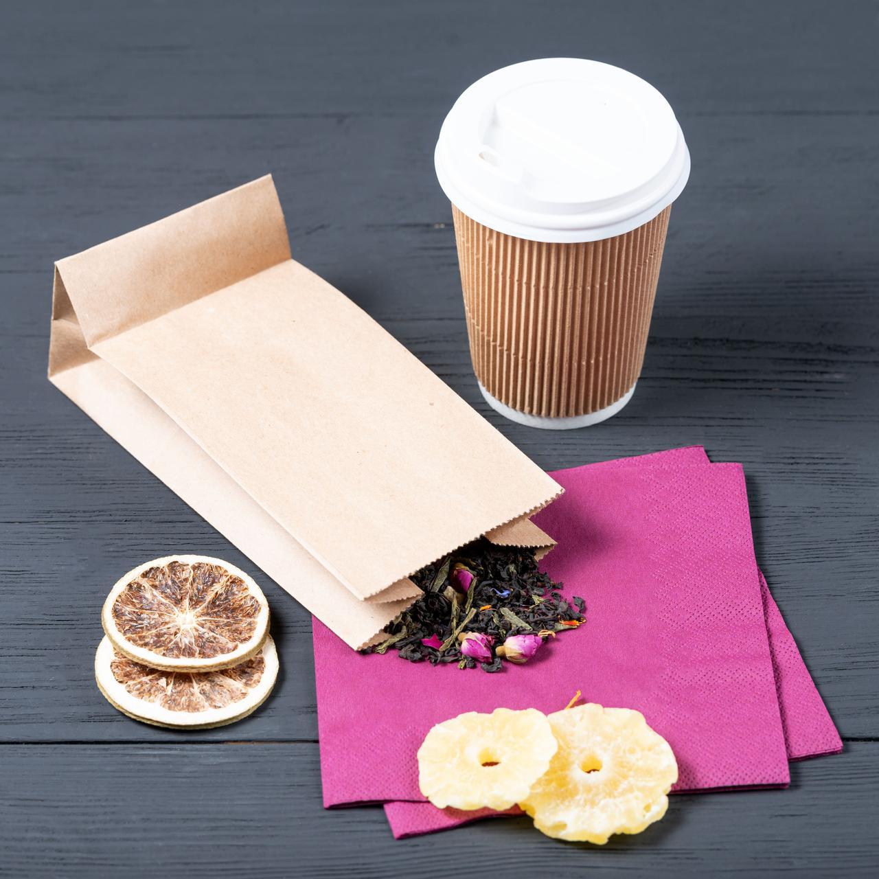 Пакет с дном бумажный 95*65*190 мм бурый фасовочный крафт пакет
