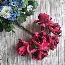 Роза тканевая розовая с коричневым 3.5 см пучок 6 шт - 24 грн