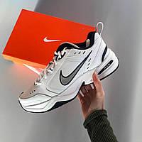 Мужские кроссовки Nike Monarch White, стильные белые с синей эмблемой демисезонные кроссовки найк монарх