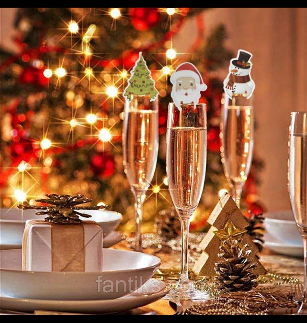 Набор новогодних украшений для бокалов/стаканов - 10 шт