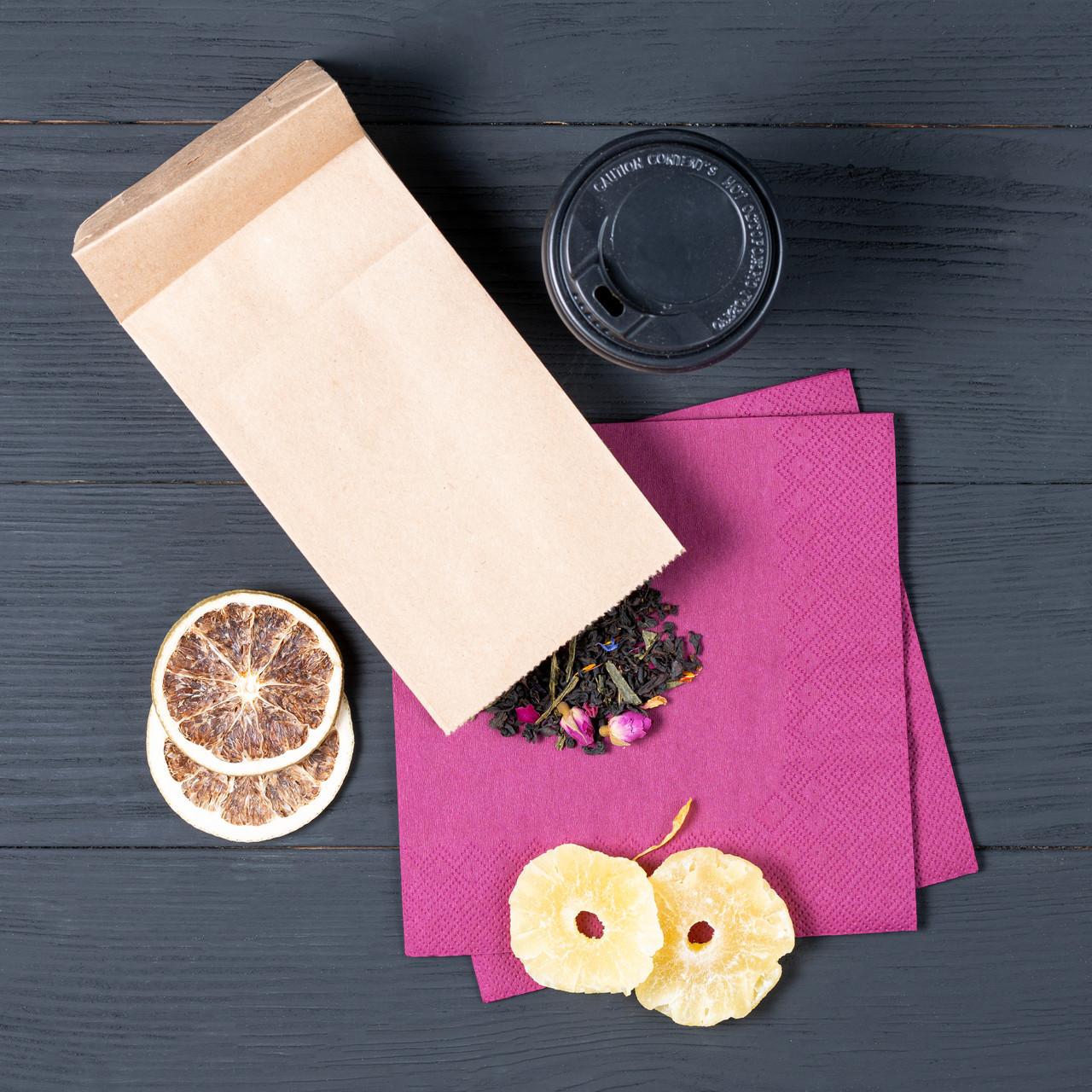Бумажный пакет с плоским дном 95*65*190 мм для орехов, сухофруктов, цукатов