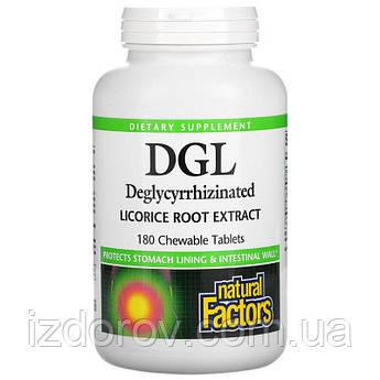 Natural Factors, DGL, глицирризинат экстракта из корня солодки, 180 жевательных таблеток