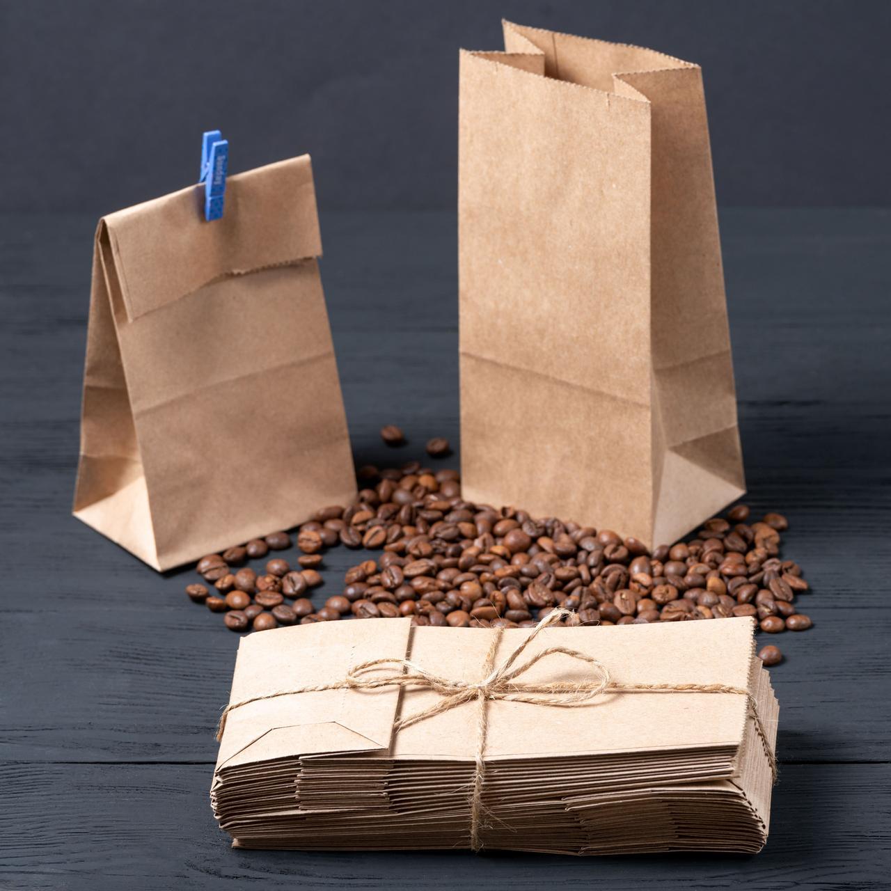 Бумажный пакет для чая и кофе с дном крафт бурый 95*65*190 мм
