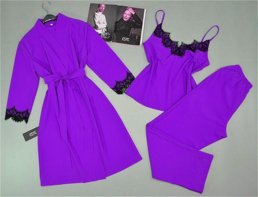 Комплект с кружевом халат и пижама ( майка+штаны) лаванда.