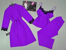 Комплект з мереживом халат, піжама ( майка+штани) лаванда.