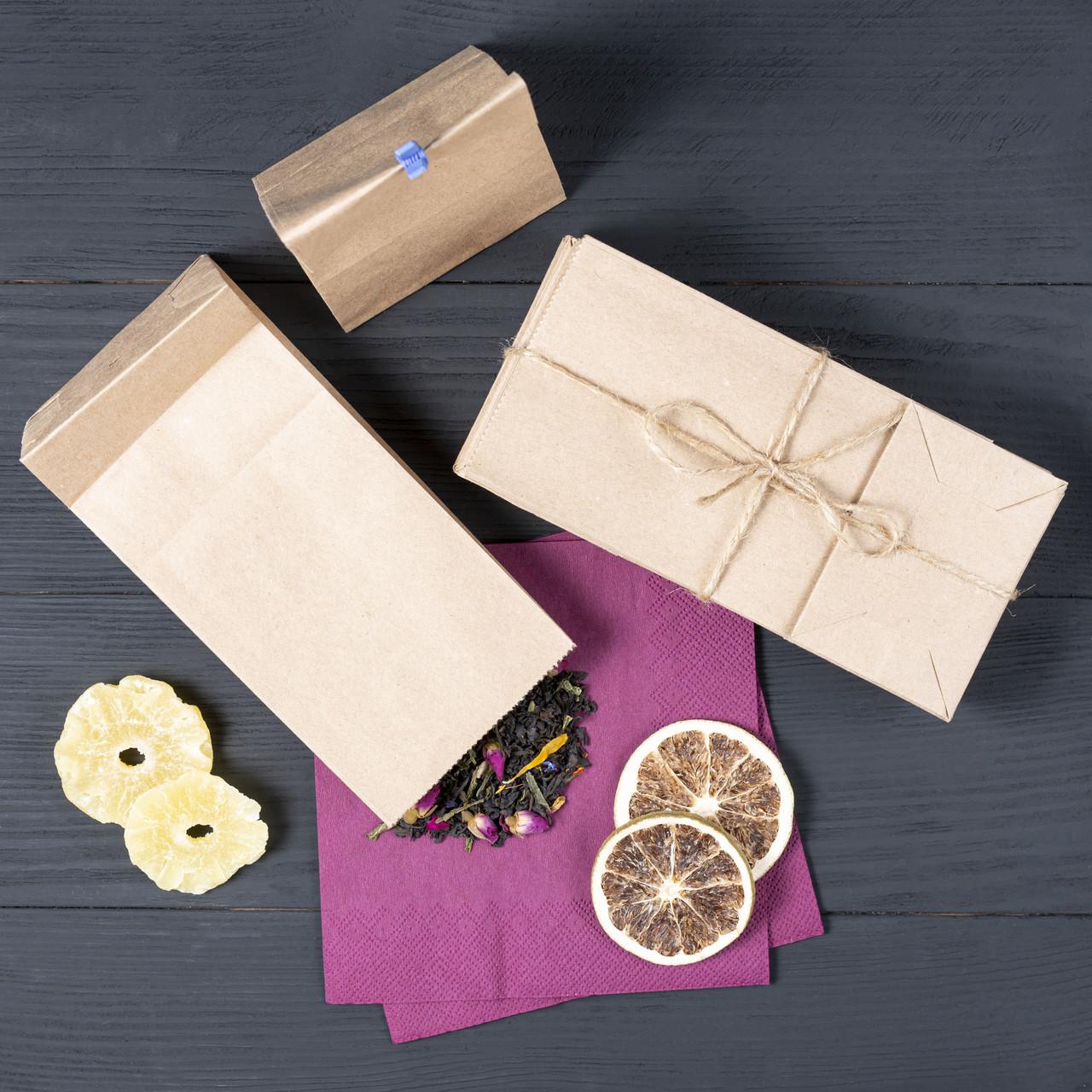 Пакет паперовий з дном 95*65*190 мм бурий фасувальний крафт пакет