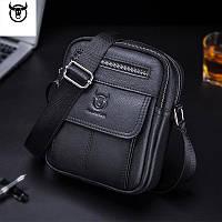 Мужская сумка через плечо Натуральня кожа Барсетка Мужская кожаная сумка для документов планшет Черный