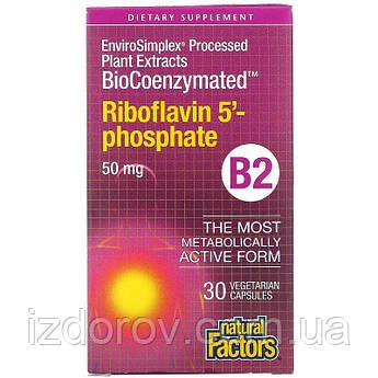 Natural Factors, Витамин B2, рибофлавин 5'-фосфат, 50 мг, 30 вегетарианских капсул