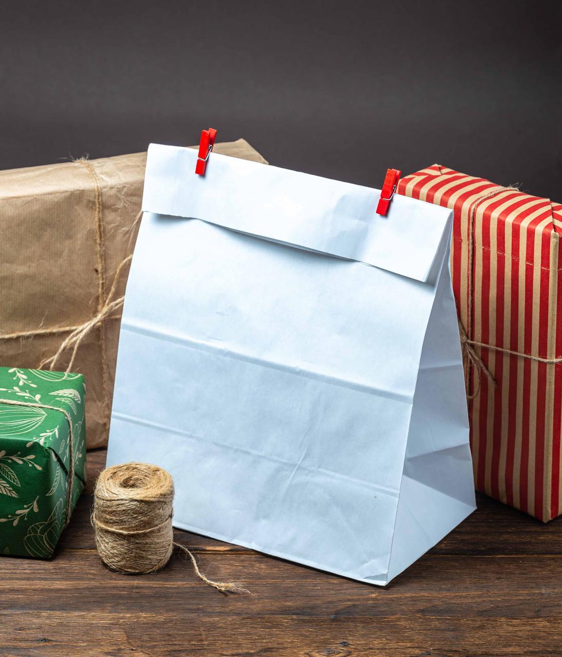Бумажный пакет белый с дном 260*150*350 мм упаковочный