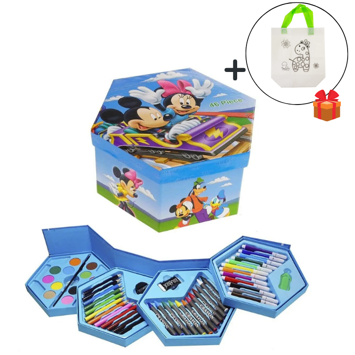 Набір для малювання в розкладний коробочці Міккі Маус, 46 предметів + подарунок Сумка розмальовка!