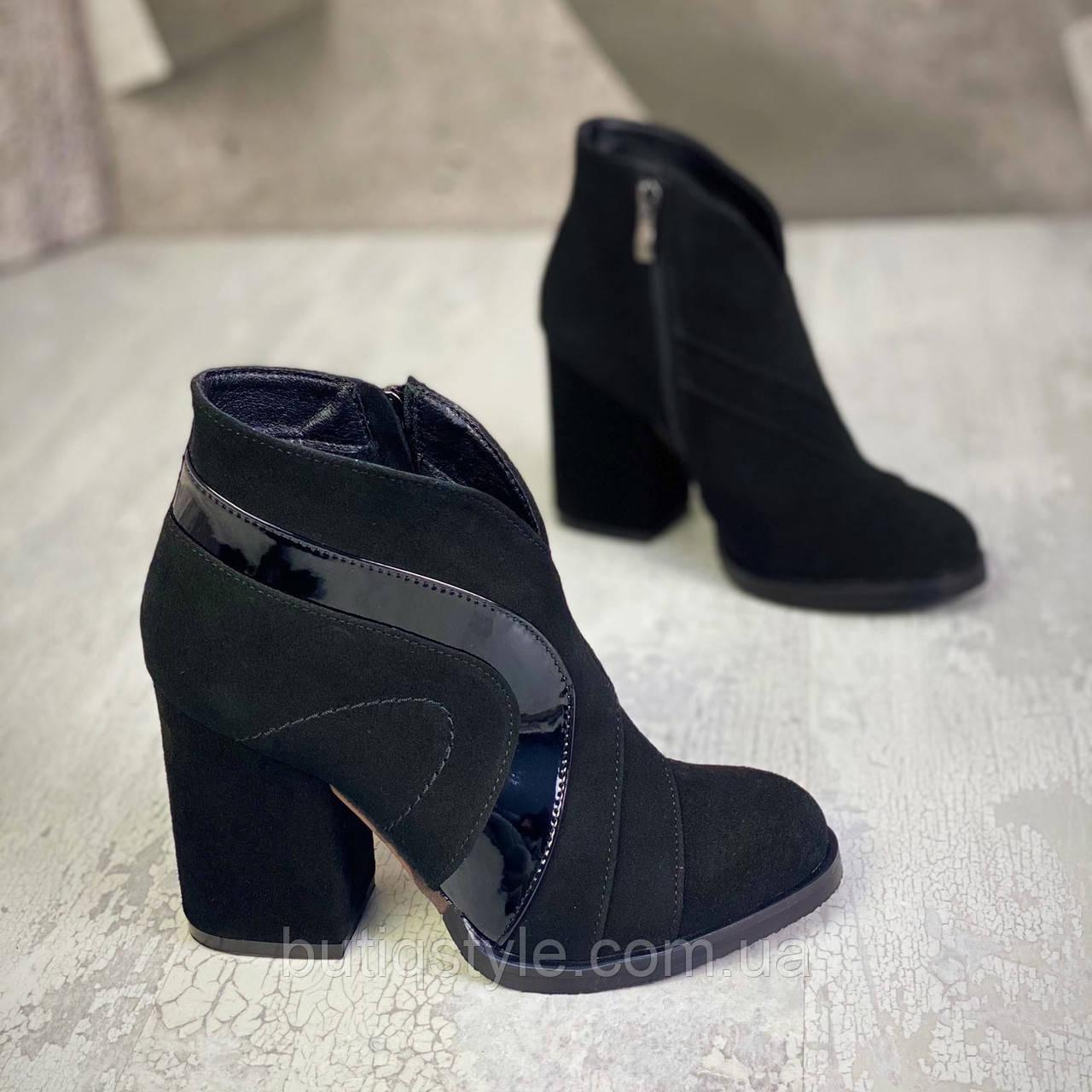 Жіночі чорні черевики натуральна замша+лак на каблукеДеми