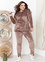 Батальный велюровый костюм с кофтой и брюками
