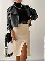 Женская вельветовая юбка с разрезом