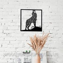 Декоративное панно из дерева. Декор на стену. Комбинированное панно Волк - Дерево