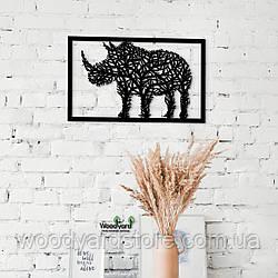 Декоративное панно из дерева. Декор на стену. Комбинированное панно Носорог - Дерево