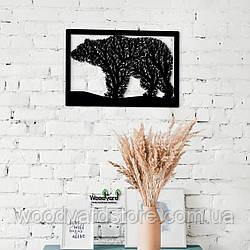 Декоративное панно из дерева. Декор на стену. Комбинированное панно Медведь - Дерево