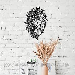Декоративное панно из дерева. Декор на стену. Цветочный Лев