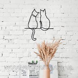 Декоративное панно из дерева. Декор на стену. Линейное панно Семейка Кошек